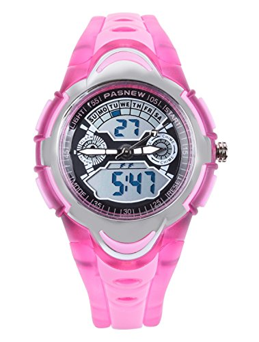 FSX 212G Analog Digital Dual Time Kids Jungs Rosa Sport digitale wasserdicht LED Augen Armbanduhr mit Hintergrundbeleuchtung Alarm Stoppuhr Chronograph Glockenspiel Kalender Datum und Tag