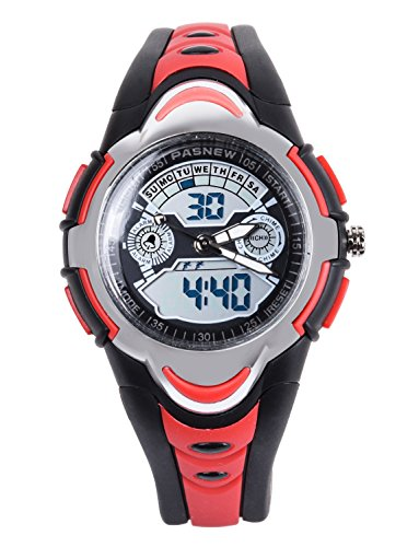 FSX 212G Analog Digital Dual Time Kids Jungs Rot Sport digitale wasserdicht LED Augen Armbanduhr mit Hintergrundbeleuchtung Alarm Stoppuhr Chronograph Glockenspiel Kalender Datum und Tag