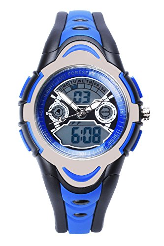 FSX 212G Analog Digital Dual Time Kids Jungs Blau Sport digitale wasserdicht LED Augen Armbanduhr mit Hintergrundbeleuchtung Alarm Stoppuhr Chronograph Glockenspiel Kalender Datum und Tag