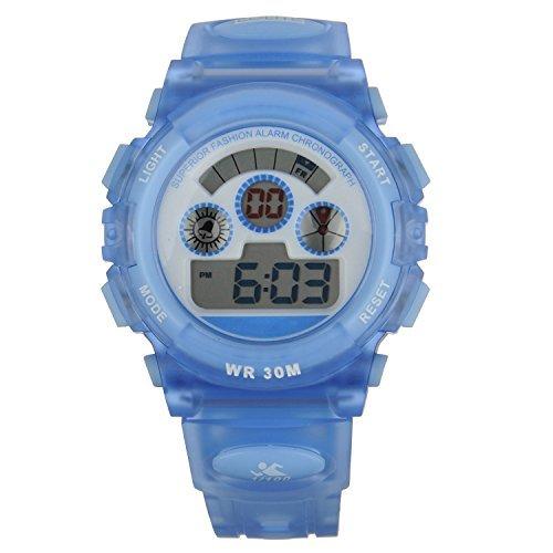 FSX 519G Kids Maedchen Transparent Blau Sport digitale wasserdicht LED Augen Armbanduhr