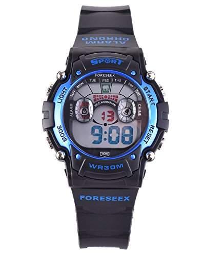 FSX-521B Kids Jungs Blau Sport digitale wasserdicht LED Augen Armbanduhr mit Hintergrundbeleuchtung, Alarm, Stoppuhr, Chronograph, Glockenspiel, Kalender, Datum und Tag, 1224 Stunden Anzeige