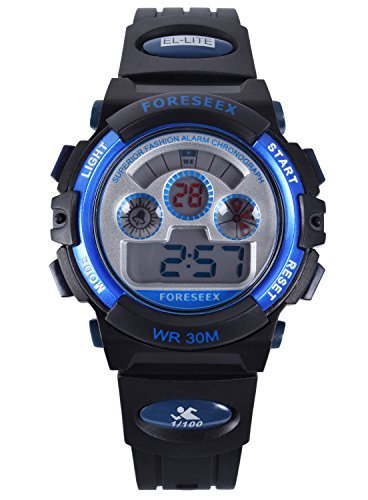 FSX 519G Kids Jungs Blau Sport digitale wasserdicht LED Augen Armbanduhr mit Hintergrundbeleuchtung Alarm Stoppuhr Chronograph Glockenspiel Kalender Datum und Tag 12 24 Stunden Anzeige