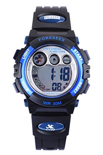 FSX 555 Kids Jungs Blau Sport digitale wasserdicht LED Augen Armbanduhr mit Hintergrundbeleuchtung Alarm Stoppuhr Chronograph Glockenspiel Kalender Datum und Tag 12 24 Stunden Anzeige