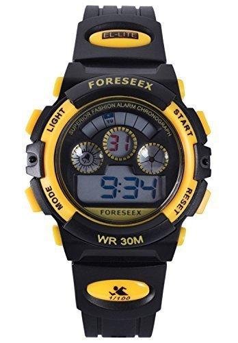FSX 519G Kids Jungs GELB Sport digitale wasserdicht LED Augen Armbanduhr mit Hintergrundbeleuchtung Alarm Stoppuhr Chronograph Glockenspiel Kalender Datum und Tag 12 24 Stunden Anzeige