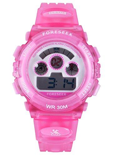 FSX 519G Kids Maedchen Rosa Sport digitale wasserdicht LED Augen Armbanduhr mit Hintergrundbeleuchtung Alarm Stoppuhr Chronograph Glockenspiel Kalender Datum und Tag 12 24 Stunden Anzeige