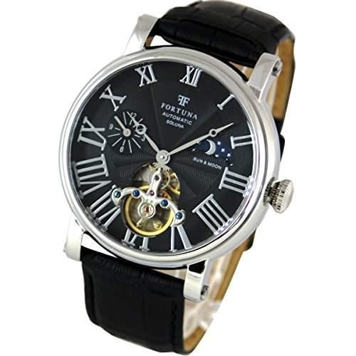 Fortuna Automatik mechanische Uhr Sonne und Mond mit italienisches Leder armband Uhren fuer Maenner 9701