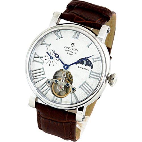 Fortuna Automatik mechanische Uhr Sonne und Mond mit italienisches Leder armband Uhren fuer Maenner mu00e4nner