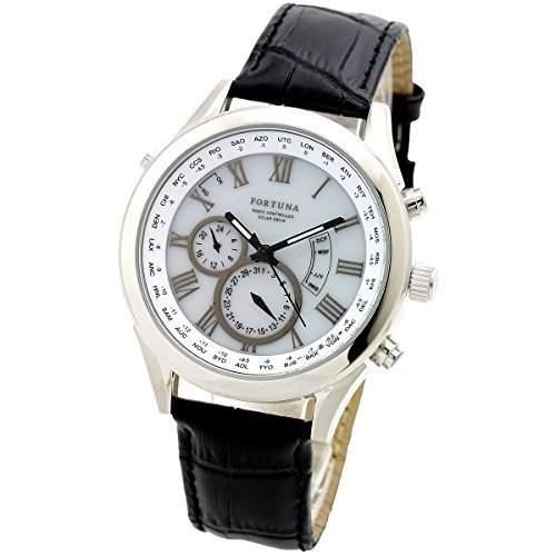 Fortuna Solar Radiowelle automatisch Zeiteinstellung ewiger Kalender Weltzeit Herren uhren Armbanduhren