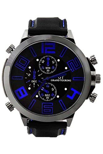 GT Maenner Cool Super Grosses Zifferblatt Quarz Stahl Silikon Band Armbanduhr Blauer Zeiger