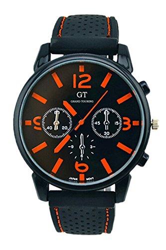 GT Maenner Silikon Band Edelstahl Armbanduhr orange