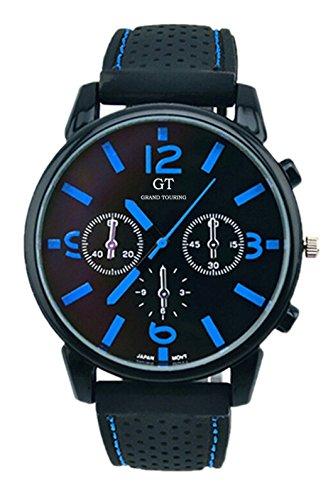 GT Maenner Silikon Band Edelstahl Armbanduhr blau