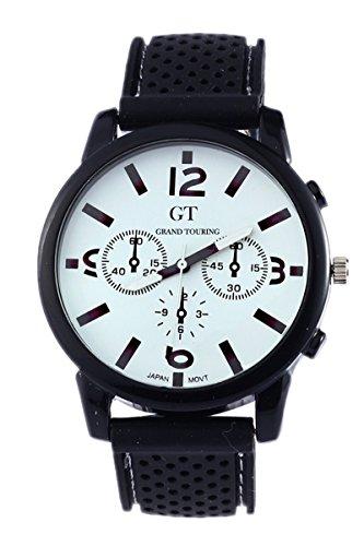GT Maenner Silikon Band Edelstahl Armbanduhr weiss
