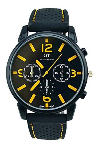 GT Maenner Silikon Band Edelstahl Armbanduhr gelb