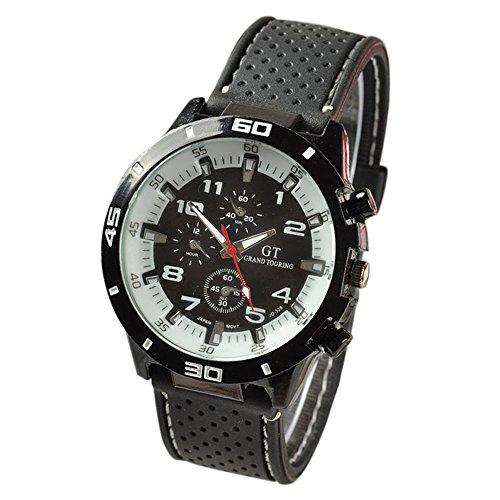 Maenner Armbanduhr GT Maenner Armbanduhr Silikon Uhr Mann Sport Uhr Beilaeufige Uhren Radfahren Analoge Armbanduhr weiss weiss