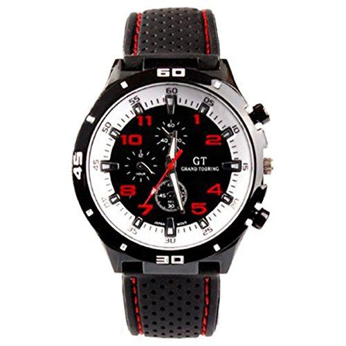 Maenner Armbanduhr GT Maenner Armbanduhr Silikon Uhr Mann Sport Uhr Beilaeufige Uhren Radfahren Analoge Armbanduhr rot weiss