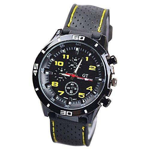 Maenner Armbanduhr GT Maenner Armbanduhr Silikon Uhr Mann Sport Uhr Beilaeufige Uhren Radfahren Analoge Armbanduhr gelb schwarz
