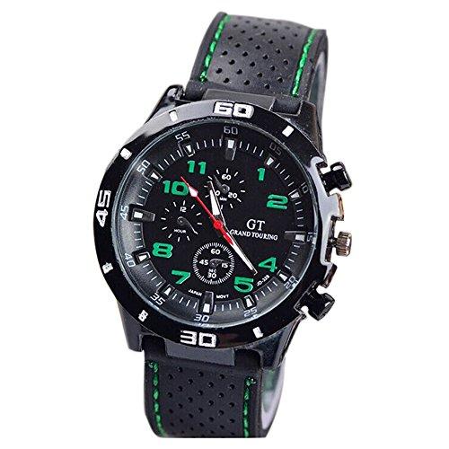 Maenner Armbanduhr GT Maenner Armbanduhr Silikon Uhr Mann Sport Uhr Beilaeufige Uhren Radfahren Analoge Armbanduhr gruen schwarz