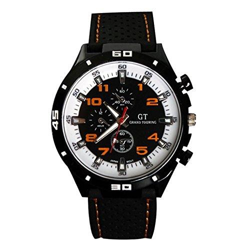 Maenner Armbanduhr GT Maenner Armbanduhr Silikon Uhr Mann Sport Uhr Beilaeufige Uhren Radfahren Analoge Armbanduhr orange weiss