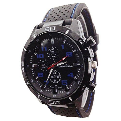 Maenner Armbanduhr GT Maenner Armbanduhr Silikon Uhr Mann Sport Uhr Beilaeufige Uhren Radfahren Analoge Armbanduhr blau schwarz
