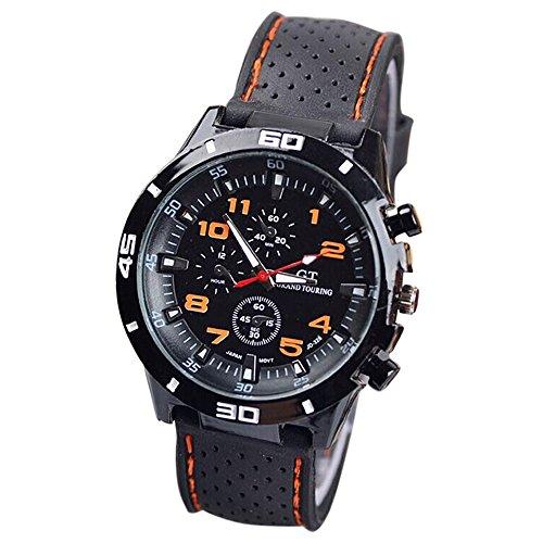 Maenner Armbanduhr GT Maenner Armbanduhr Silikon Uhr Mann Sport Uhr Beilaeufige Uhren Radfahren Analoge Armbanduhr orange schwarz