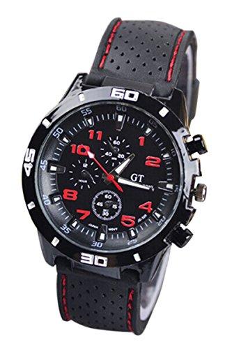 Maenner Armbanduhr GT Maenner Armbanduhr Silikon Uhr Mann Sport Uhr Beilaeufige Uhren Radfahren Analoge Armbanduhr rot schwarz
