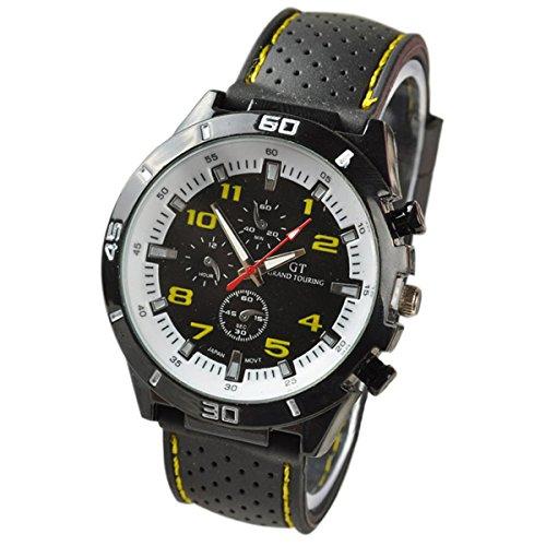 Maenner Armbanduhr GT Maenner Armbanduhr Silikon Uhr Mann Sport Uhr Beilaeufige Uhren Radfahren Analoge Armbanduhr gelb weiss