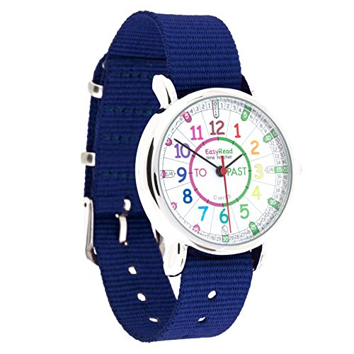 EasyRead Time Teacher Kinderuhr Lernen die Uhrzeit auf Englisch anzugeben mit Minutes Past Minuten nach und Minutes To Minuten vor der vollen Stunde Regenbogenfarben Blau Armband