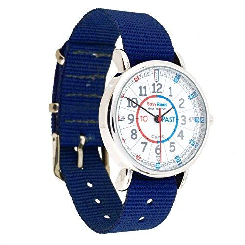 EasyRead Time Teacher Kinderuhr Lernen die Uhrzeit auf Englisch anzugeben mit Minutes Past Minuten nach und Minutes To Minuten vor der vollen Stunde Rot blau graues Zifferblatt Blau Armband