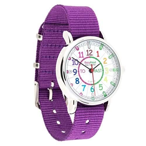 EasyRead Time Teacher Kinderuhr, Lernen, die Uhrzeit auf Englisch anzugeben mit Minuten nach und Minuten vor der vollen Stunde, Regenbogenfarben  Violettes Armband