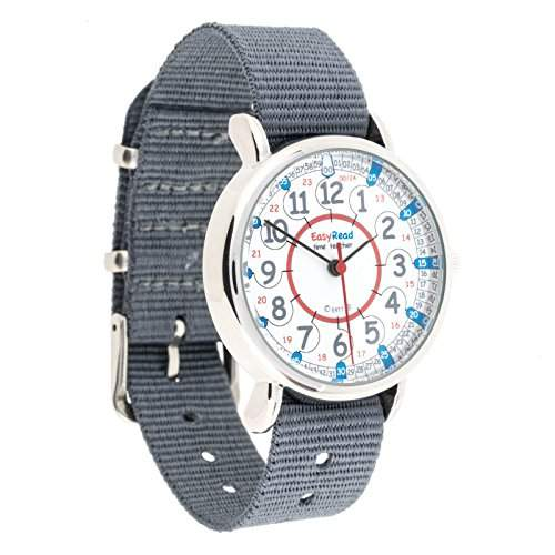 EasyRead Time Teacher Kinderuhr, 12- & 24-Stunden Digital-Uhrzeit, Rot-blau-graues Zifferblatt  Graues Armband