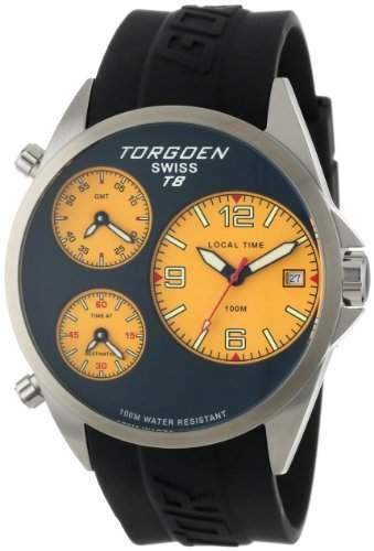 Torgoen Swiss Herren T08302 Triple-Time Zone Yellow Polyurethan Armbanduhr