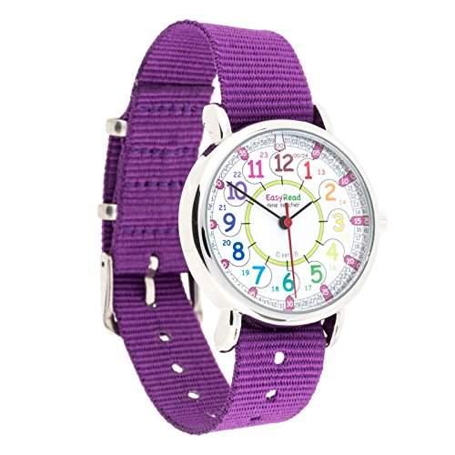 """EasyRead Time Teacher Kinderuhr, 12- & 24-Stunden """"Digital""""-Uhrzeit, Regenbogenfarben, Violettes Armband"""