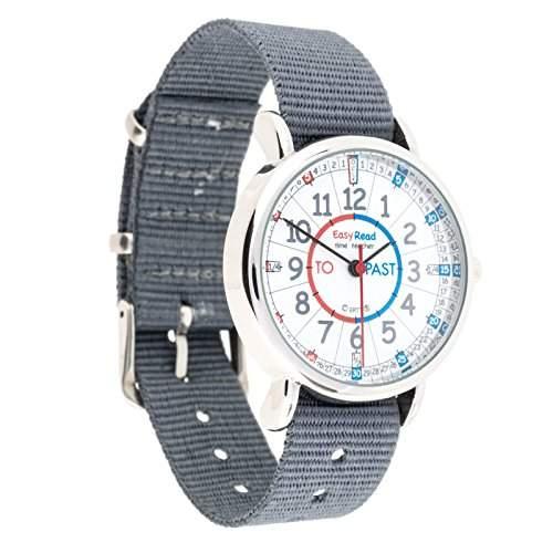 EasyRead Time Teacher Kinderuhr, Lernen, die Uhrzeit auf Englisch anzugeben mit Minuten nach und Minuten vor der vollen Stunde, Rot-blau-graues Zifferblatt  Graues Armband