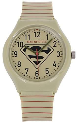 ililily DC Comics Man of Steel Superman Logo W Stripe Band Fashion Casual Watch watch-015-1