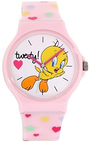 ililily Looney Tunes Tweety Logo W Cute Heart Pattern Band Fashion Watch watch-025-1