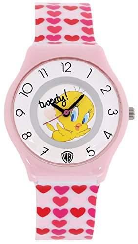 ililily Looney Tunes Tweety Logo W Cute Heart Pattern Band Fashion Watch watch-028-1