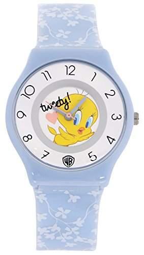 ililily Looney Tunes Tweety Logo W Flower Pattern Band Casual Fashion Watch watch-029-1