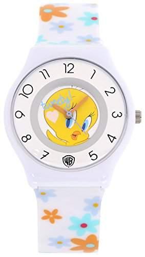 ililily Looney Tunes Tweety Logo W Flower Pattern Band Casual Fashion Watch watch-030-1