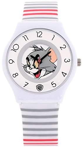 ililily Tom and Jerry Cartoon Logo W 2 Tone Stripe Band Casual Fashion Watch watch-035-1