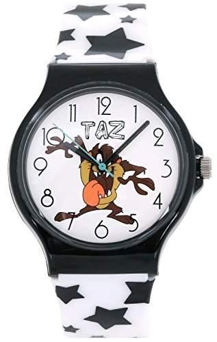 ililily Looney Tunes Taz Logo W Cute Star Pattern Band Casual Fashion Watch watch-037-1