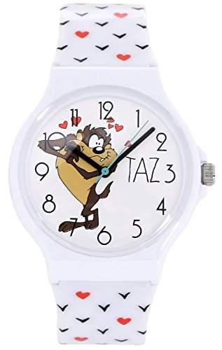 ililily Looney Tunes Taz Logo W Cute Heart Pattern Band Casual Fashion Watch watch-038-1