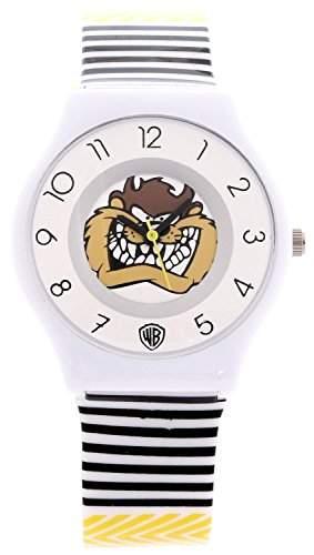 ililily Looney Tunes Taz Logo W Striped Pattern Band Casual Fashion Watch watch-041-1