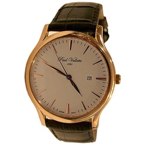 Paul Vallette Tradition Herren 42mm Braun Leder Armband Datum Uhr PV150212 RG 03