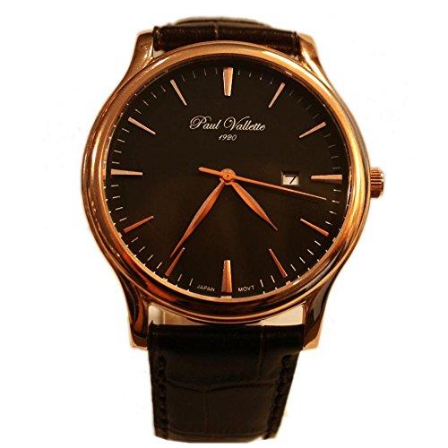 Paul Vallette Tradition Herren 42mm Braun Leder Armband Datum Uhr PV150212 RG 04