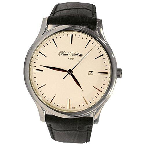 Paul Vallette Tradition Herren 42mm Schwarz Leder Armband Uhr PV150212 SS 03