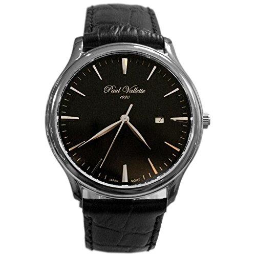 Paul Vallette Tradition Herren 42mm Schwarz Leder Armband Uhr PV150212 SS 05