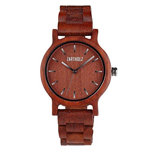 ZARTHOLZ Herren Damen Holz Armbanduhr Holzuhr Klassik 40mm aus rotem Sandelholz Holzarmband Rot Silber ZH008