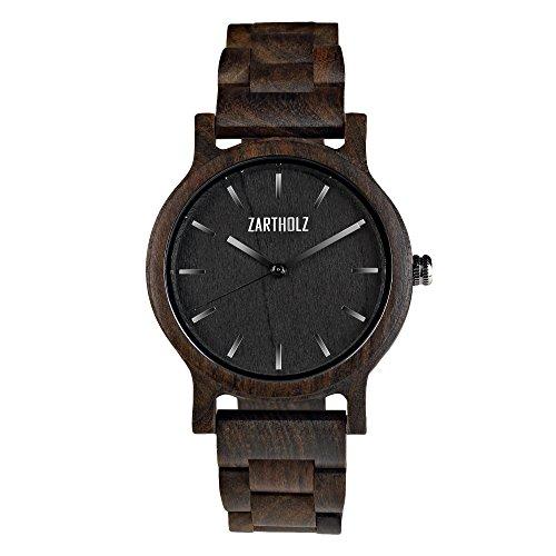 ZARTHOLZ Herren Damen Holz Armbanduhr Holzuhr Klassik 40mm aus schwarzem Sandelholz Holzarmband Schwarz Silber ZH007