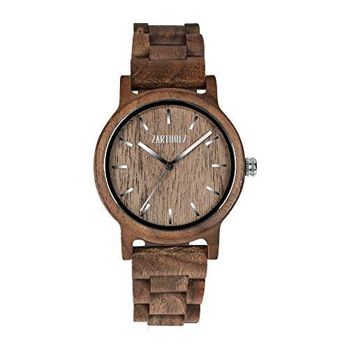 ZARTHOLZ Herren Damen Holz Armbanduhr Holzuhr Klassik 40mm aus Walnussholz Holzarmband Braun Silber ZH006