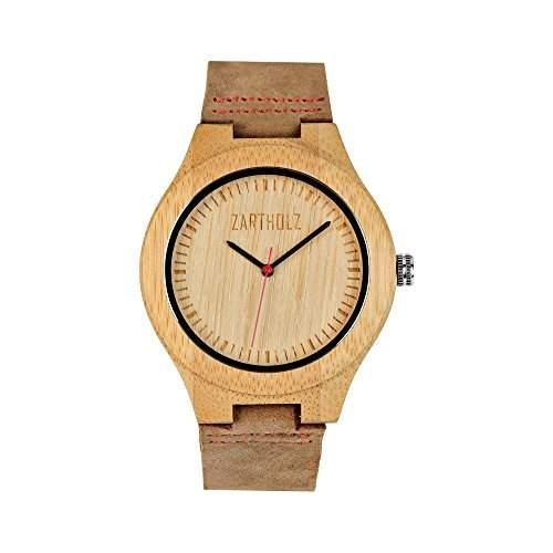 ZARTHOLZ Herren Holz-Armbanduhr Empor Rot 45mm Analog Quarz Lederarmband Braun Bambus ZH001